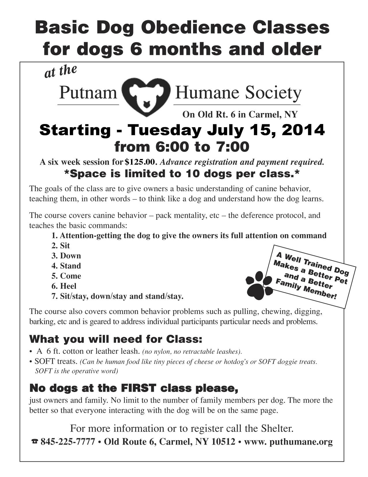 PHS Dog Training flyerjuly2014 | Putnam Humane Society